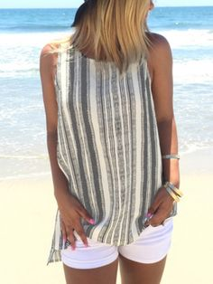 5e8d171024fe2 Vertical Striped Split Side Tank Top EmmaCloth-Women Fast Fashion Online