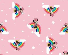 Disney Minnie Mouse, Clouds & Rainbows Pink Cotton (Disney Over the Rainbow Minnie)