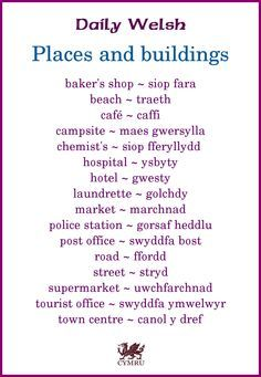 Daily Welsh: Places and Biuldings Welsh Sayings, Welsh Words, Welsh Phrases, Wales Language, Welsh Translation, Learn Welsh, Welsh Recipes, Wales Uk, North Wales
