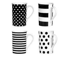 Set di 4 mug in porcellana Spots&Stripes - 10x10 cm