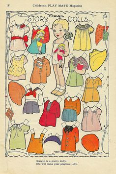 Vintage Paper Doll when I was little I used to play with a big box of Shirley Temple and Dionne Quintuplet paper dolls my Grandmother had saved. She threw them out along with about 50 wooden duck decoys .....My mother is doing the same kind of things now!