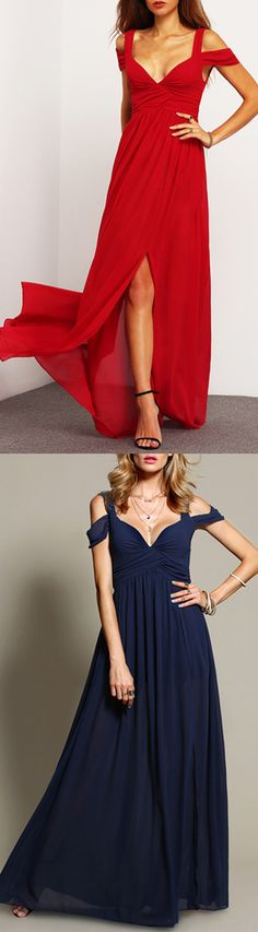 Off The Shoulder Maxi Dress, perfect for red carpet, available for red and navy colors.