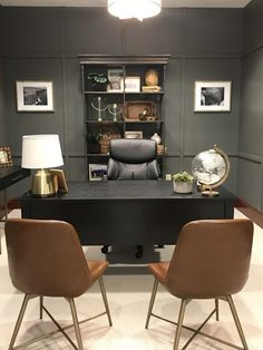Masculine Office Decor, Masculine Home Offices, Male Office Decor, Business Office Decor, Professional Office Decor, Ceo Office, Modern Offices, Office Inspo, Office Ideas
