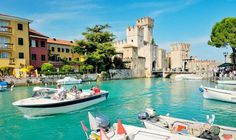 North Italy- Rocca Scaligera castle stands at the entrance to the town, on the edge of Lake Garda