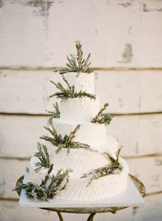 White cake with pine tree details: http://www.stylemepretty.com/2014/04/24/a-classic-farm-wedding-in-pennsylvania/ | Photography: KT Merry - http://www.ktmerry.com/