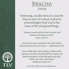 TLV Glossary Word of the Day: Bracha #tlvbible