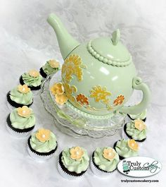 Pale Green Teapot Cake & Cupcakes - Cake by TrulyCustom