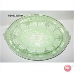 Cameo Ballerina Vegetable Bowl Green Depression Glass