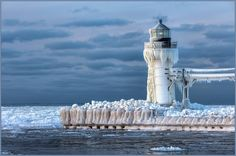St Joseph, Michigan near Benton Harbor. The outer pier will melt and re-ice a few times thru February. This is dependent on wind direction and cold. This was a low ice freeze. Sometimes it's spectacular. If you're ever thinking of going, make sure you check first (Google the live camera for St Joseph Lighthouse)