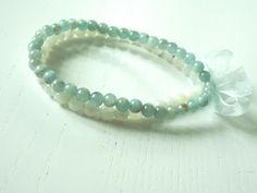 """Mademoiselle"" bracelet, this time with Moonstone and Aquamarine round beads"