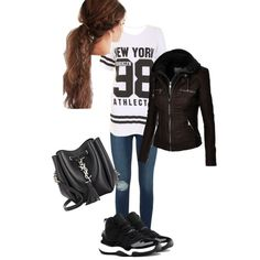 sporty 2 by design-21 on Polyvore featuring polyvore fashion style Frame Denim Yves Saint Laurent NIKE