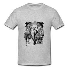 Strong Elephant Gray Adult Standard Weight T-shirt For Men Outlet-Animals & Nature  Clothing with 98% happy customers! Create custom shirts and personalized goods at HICustom,Use our online designer to add your design, logos, or text. easily!