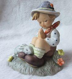 BERTA HUMMEL Nature's Prayer  BH55  Goebel 1998 Boy Seated Praying with Rabbit Hummel Figurines, Thrifting, Rabbit, Prayers, Teddy Bear, Toys, Children, Nature, Shop