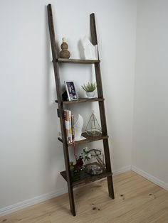 Stained Timber Ladder Shelf