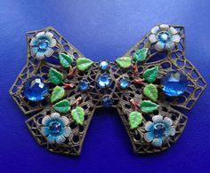 vintage art deco blue rhinestone enamel flower bow filigree brooch c pin -D462