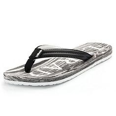 GAXmi Womens Summer Casual Wood Patten Print Beach Flip Flops Black US 7 >>> Check out the image by visiting the link.