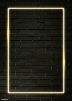 Rectangle yellow neon frame on a black brick wall Brick Wall Wallpaper, Framed Wallpaper, Neon Wallpaper, Screen Wallpaper, Wallpaper Backgrounds, Phone Wallpapers, Instagram Frame Template, Instagram Background, Neon Lighting
