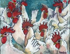 Chicken Art | Farm Animal Watercolor Painting | Fine Art Print | Country Kitchen…