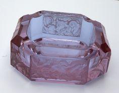 Bohemian Art Deco Alexandrite Carved Crystal Ashtray - Big Ashtray