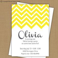 Chevron Invitation. Chevron Birthday. Chevron Baby Shower. Chevron Bridal Shower. $15.00, via Etsy.