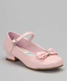 Take a look at this Light Pink Sparkle Bow Patent Mary Jane by Josmo on #zulily today!