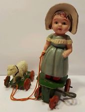 Vintage Tin Celluloid Mary Had A Little Lamb Windup Toy WORKS Rare