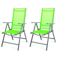 2er Set Klappstuhl Aluminium Gartenstuhl Alu Campingstuhl grün hochlehnig Nexos Trading