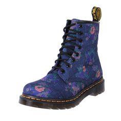 Dr. Martens AirWair 8 Ups Boots 1460 denim floral   The Shoe Link