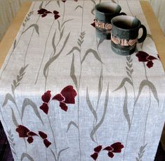 "Linen Table Runner Tablecloth 60,2""x18,5"" Natural White Gray by Initasworks, $32.00"