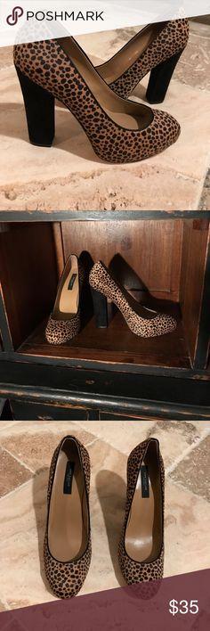 Ann Taylor fur cheetah print with Suede hills. S Cheetah print fur by Ann Taylor with suede hills. 5 inch hill. Ann Taylor Shoes Heels