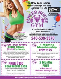 First Powerhouse Gym Coupons For 2014!  Come get your fitness on at Powerhouse Gym in West Bloomfield, MI!  Just call (248) 539-3370 or visit our website powerhousegym.com/welcome-west-bloomfield-powerhouse-i-41.html for more information!