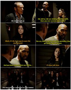 I loved the scene cut to them walking down the hall huddled together! Lol! - Agents Of S.H.I.E.L.D.