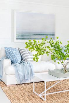 Summer House Interiors, Nantucket Beach, White Shiplap Wall, White Walls, Beach House Decor, Home Decor, Beach House Tour, White Sofas, Coastal Cottage