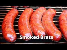 Smoked Brats make a perfect football food - especially when you add the Bacon Onion Jam to make them really special. Bratwurst Sausage, Sausages, Bratwurst Recipes, Sausage Recipes, Beer Brats, Uds Smoker, Smoked Turkey, Smoked Bacon, Bacon Jam