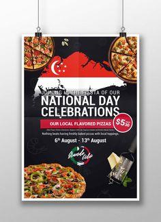 Pizza Promo, Singapore National Day, Pizza Poster, Singapore Art, Pizza Bake, Stuffed Peppers, Baking, Artwork, Fiestas