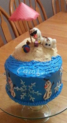 Olaf Birthday Cake - Beach Scene