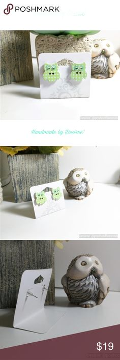 Wooden Owl Button Earrings (Girl's) ❤️ HANDMADE BY DESIREE' ❤️Wooden owl buttons with Swarovski crystal eyes ❤️Patel mint green and white dot design ❤️Stainless steel post with rubber stopper Accessories Jewelry