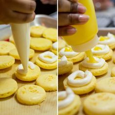 Meyer Lemon Macarons with Meyer Lemon Curd and Swiss Meringue Buttercream