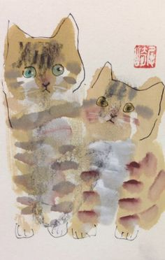 Untitled by Shozo Ozaki on Curiator, the world's biggest collaborative art collection. I Love Cats, Crazy Cats, Illustrations, Illustration Art, Art Asiatique, Gatos Cats, Watercolor Cat, Here Kitty Kitty, Cat Drawing