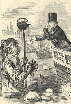 The Great Stink crisis of Summer, 1858. Michael Faraday presents his card to a very polluted Father Thames.