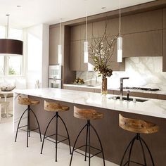Love these lights - Kitchen Honed Marble Design, Pictures, Remodel, Decor and Ideas