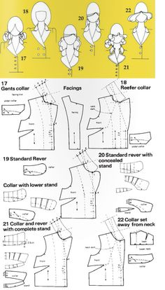 collar styles Doll Clothes Patterns, Sewing Clothes, Clothing Patterns, Sewing Patterns, Sewing Hacks, Sewing Tutorials, Sewing Projects, Pattern Cutting, Pattern Making