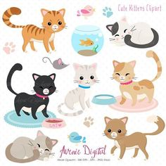 Cute Cat Clipart. Scrapbooking printables, Vector .eps and png Kitten clip art set. Sleeping and playing Kitty Cats graphics Animal Clipart Clip Arts. Best Choice for cards, invitations, printing, party packs. blog backgrounds, paper [...]