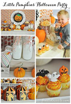 Love this adorable Halloween party dessert table!  via Frosted Events @frostedevents.com  Halloween Ideas for Kids- Halloween Party Pumpkin Theme frostedevents.com  kids party ideas, halloween party, candy buffet, dessert table