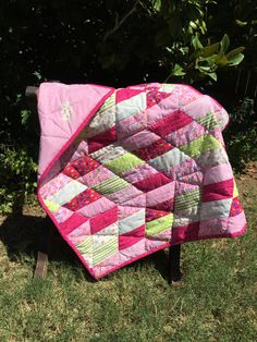 Bright Pink Chevron Hand-quilted Baby Quilt by RobinsJoyCreations on Etsy