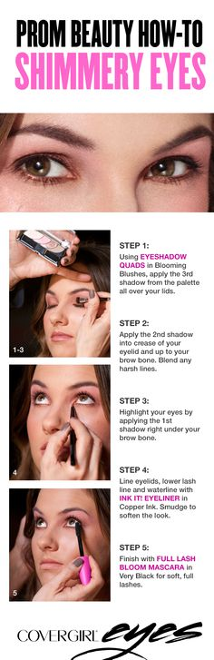 This simple tutorial for shimmery, sparkly eyes requires only 3 products – an eyeshadow palette with 4 soft, pink shades, a shimmering metallic copper eyeliner and a mascara that makes lashes look soft, full and gorgeous. Makeup Tutorials, Makeup Ideas, Makeup Tips, Beauty Makeup, Beauty Tips, Beauty Hacks, Hair Beauty, Different Makeup Looks, Makeup Techniques