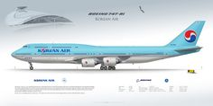 "Boeing 747-8i Korean Air HL7630 | Available sizes 60x30 cm – 24x12"" 90x30 cm – 36x12"" www.aviaposter.com 