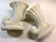 Beautiful Vintage Mid Century Modern Creamy Matte White Cornucopia Ceramic Art Pottery Vases SET OF TWO by YatsDomino on Etsy