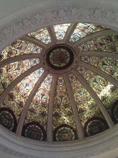 Stained glass dome ceiling  inside Anthropologie on Rittenhouse Square Philadelphia
