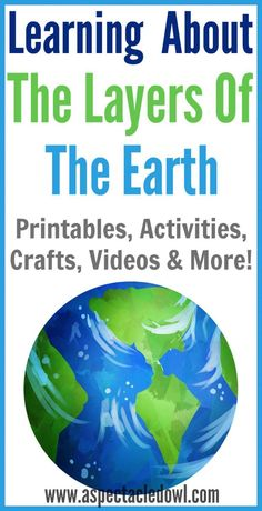 Learning About the Layers of the Earth - Printables, Activities, Crafts, Videos & More, Perfect for Homeschooling Educational Activities For Kids, Science For Kids, Earth Science, Learning Resources, Weird Science, Science Ideas, Science Experiments, Science Fun, Physical Science